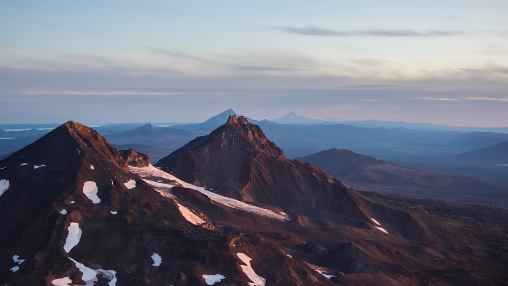 South Sister mountain at sunset